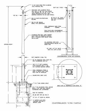 Counterbalanced Tilting Flagpole Drawing