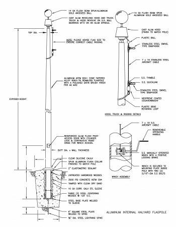 Internal Winch Flagpole Drawing