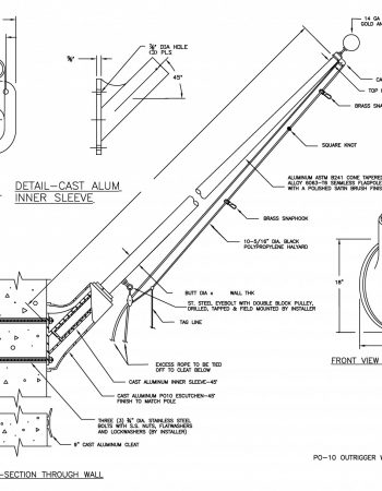 PO-10 Outrigger Wall Mounted Flagpole Drawing