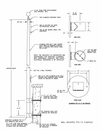 PTV-10 Vertical Wall Mounted Flagpole Drawing