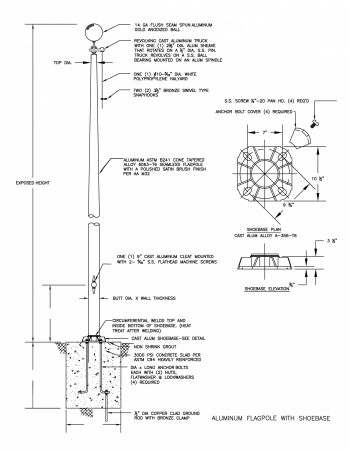 Shoe-Base Mounted Flagpole Drawing