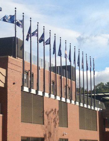 Veritcal Wall Mounted Flagpole_Quinnipiac University